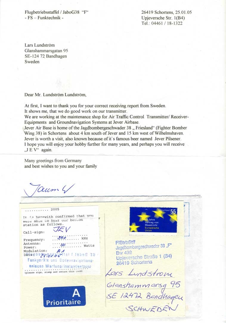 lars lundstrm received a direct qsl letter from the operating schortens air force base in 2005
